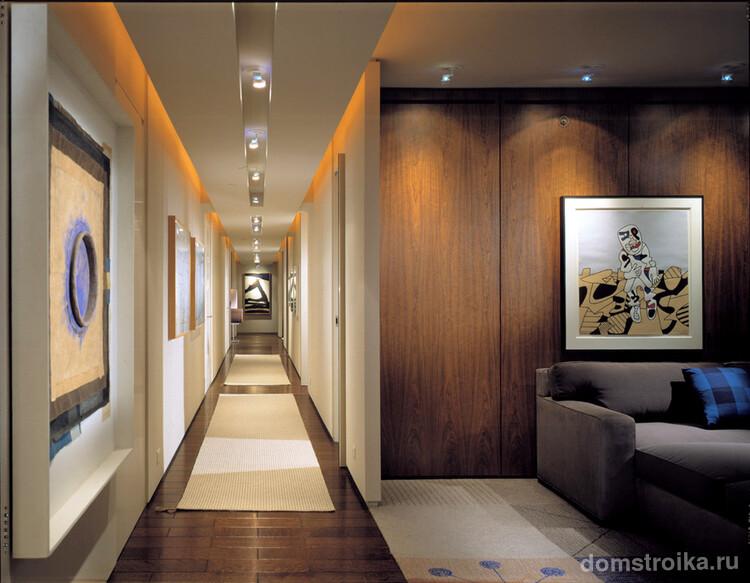 С помощью современных технологий освещения вы можете создать самые необычные варианты оформления коридора