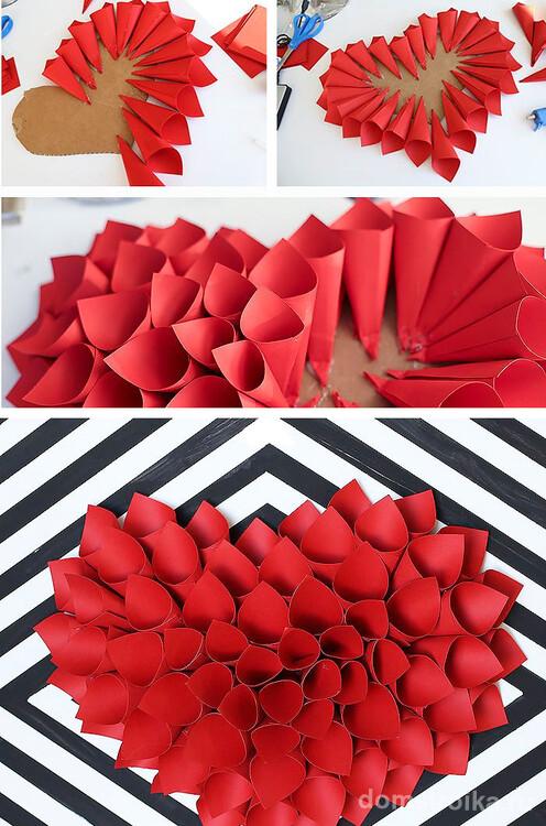 Настенное украшение из цветной бумаги на день святого Валентина