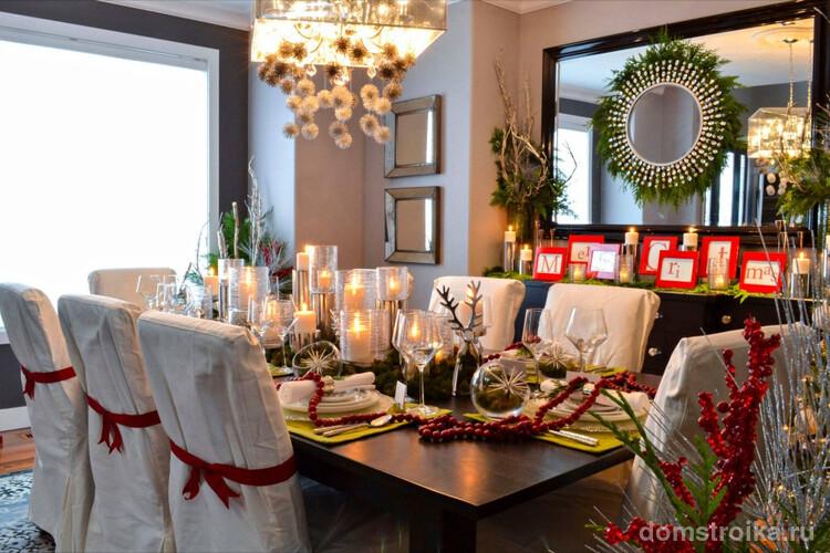 Роскошный декор столовой к празднованию Нового года