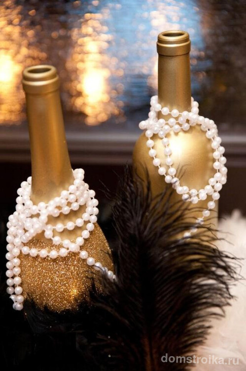 Как украсить бутылку шампанского на Новый год: золотистый праздничный декор новогоднего напитка