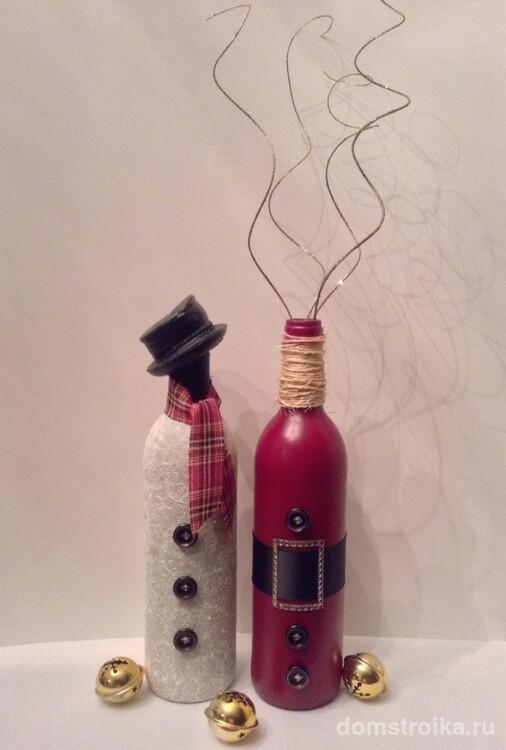 С помощью разного подручного материала можно красиво задекорировать новогоднее шампанское