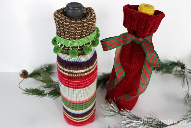 Вязаные мешочки для декора новогоднего напитка