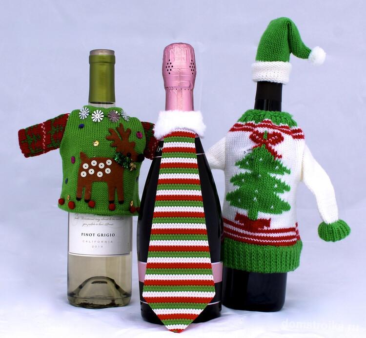 Рукодельница на заметку: отличный декор бутылок на новогодние праздники